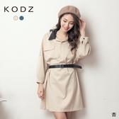 東京著衣【KODZ】俐落率性配色領雙口袋寬版附腰帶洋裝(191372)