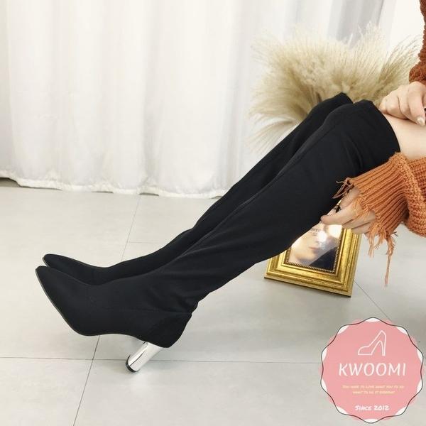 過膝長靴 激瘦側邊拉鍊粗跟 長靴*Kwoomi-101