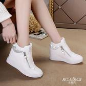厚底鞋 高幫水鉆側拉鏈坡跟鞋 米蘭shoe