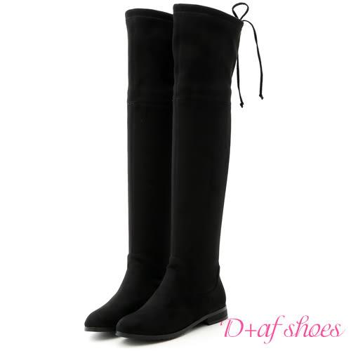 靴子 D+AF 完美線條.顯瘦感絨料平底膝上長靴*黑