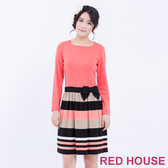 RED HOUSE 蕾赫斯-蝴蝶結條紋洋裝(粉橘色)