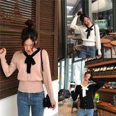 VK精品服飾 韓系蝴蝶結小清新針織衫長袖上衣