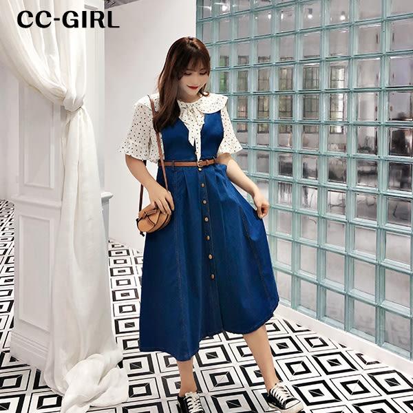 中大尺碼 大V牛仔背心裙長洋裝 - 適XL~4L《 68212HH 》CC-GIRL