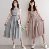 MIUSTAR 兩件式!ㄇ字格紋背心+排釦格紋裙(共2色)【NH1668】預購