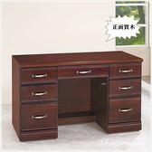 【水晶晶家具/傢俱首選】CX9674-6胡桃色4.2呎半實木七抽(附連環鎖)書桌~~可加購上座