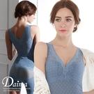無鋼圈束衣(一片式免穿內衣) 透膚蕾絲舒適顯瘦曲線塑身背心(藍色)【Daima黛瑪】