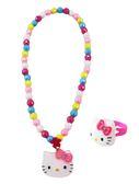 【卡漫城】 Hello Kitty 項鍊 & 戒指 二件組彩珠 ㊣版 玩具 小女孩 扮家家酒 打扮 項鏈 兒童飾品 戒子
