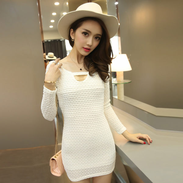 買一送一 韓國風修身鏤空包臀長袖洋裝
