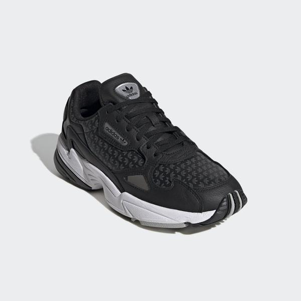 【折後$3280再送贈品】ADIDAS ORIGINALS FALCON W 滿版 LOGO 復古 老爹鞋 增高 FV9033 黑 女鞋