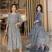 初心 波點 洋裝 【D2287】韓系 雪紡 中袖 高腰 方領 長裙 七分袖 長洋裝