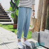 牛仔褲男牛仔褲男春季2018寬鬆直筒哈倫休閒褲子青少年淺藍色嘻哈長褲