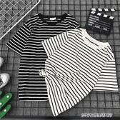 情侶裝新款夏季半袖情侶女裝上衣服黑白條紋超火ins網紅 免運快出