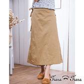 【Tiara Tiara】激安 繽紛夏日純棉素面褲裙(綠/卡其)