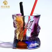 琉璃筆筒辦公室桌面裝飾送客戶女領導高檔商務禮物創意時尚工藝品