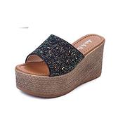 【Taroko】時尚性感亮片一字厚底涼拖鞋(黑白粉3色全尺碼)