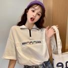 polo衫 polo衫女短袖t恤女2020年寬鬆韓版ins潮原宿風怪味紫色體桖上衣服