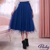 裙子 百褶針織兩穿鬆緊紗裙長裙-Ruby s 露比午茶