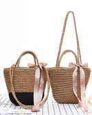 水桶包日系度假風夏季草編包旅游沙灘單肩手提水桶編織包包女(限時八八折)