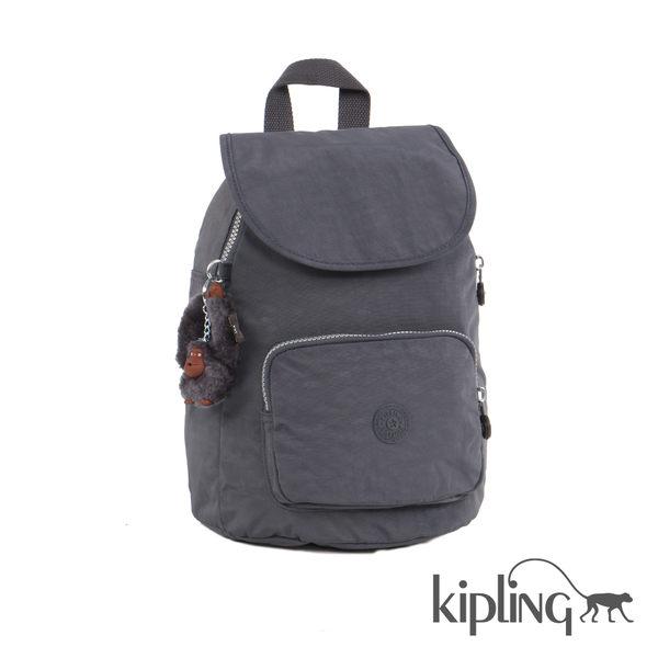 Kipling 深夜灰素面後背包-中