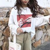 【618好康鉅惠】白色長袖t恤女寬鬆韓版學生bf原宿風衣服