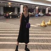 2019新款連身裙女春秋冬吊帶V領很仙的法國小眾打底裙子內搭過膝 卡米優品