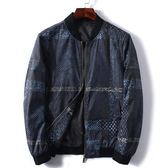 男裝春秋季薄款民族風印花短款夾克棒球領青年男士外套潮 「爆米花」