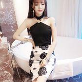 正韓洋裝主播直播服裝性感露肩緊身包臀露背掛脖連衣裙 全館八折 限時三天!