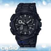 CASIO手錶專賣店   G-SHOCK GA-100BT-1A 個性皮革紋雙顯男錶 樹脂錶帶 黑色錶面 GA-100BT