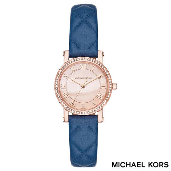 MICHAEL KORS 玫瑰金水鑽珍珠貝羅馬字時標藍色皮帶女錶 28mm MK2696 公司貨保固2年 | 名人鐘錶