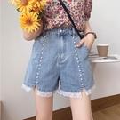 韓版設計感珍珠蕾絲花邊高腰顯瘦寬鬆直筒闊腿牛仔短褲子女夏季潮 伊蘿