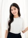 單一優惠價[H2O]袖子縫珠裝飾泡泡袖雪紡上衣 - 白/粉/淺綠色 #0675008