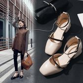 高跟單鞋女新品春夏全館免運正韓百搭一字扣方頭中跟復古粗跟瑪麗珍鞋 高跟鞋
