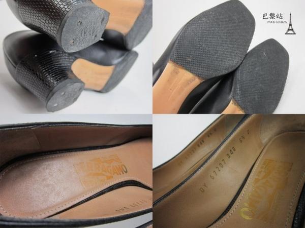 【巴黎站二手名牌專賣店】*現貨*Salvatore Ferragamo 真品* 琥珀方頭造型 黑色低跟鞋(6.5號)