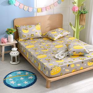 【BREAD TREE麵包樹】精梳棉加大床包+枕套三件組(檸檬派對)檸檬派對(灰)