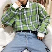 韓國復古嘻哈格子POLO紐扣翻領長袖T恤 18AW男女款 [完美男神]