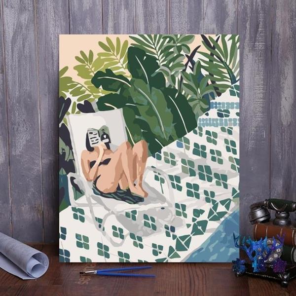 數字油彩畫diy抽象簡約手繪填充涂色數字油畫【古怪舍】