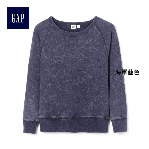 Gap女裝 柔軟毛圈布套頭圓領長袖運動衫 335979-海軍藍色