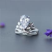 戒指 925純銀 水晶-大方鑲鑽生日情人節禮物女開口戒73dt78【時尚巴黎】