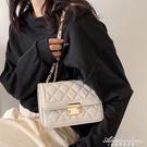 高級感菱格鏈條白色包包女2021新款潮百搭洋氣網紅小眾側背斜背包 黛尼時尚精品