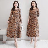 夏款中長款棉麻洋裝2021夏季新款長袖收腰顯瘦洋氣減齡裙子長裙 「雙10特惠」