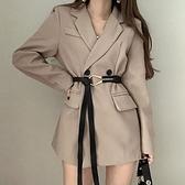 VK精品服飾 韓國風優雅西裝V領雙排釦收腰配腰帶長袖洋裝