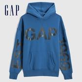 Gap男裝 Logo撞色印花休閒連帽上衣 627578-淺藍色