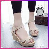 網紅涼鞋女夏季厚底新款新款正韓百搭鬆糕舒適高跟鞋坡跟羅馬女鞋『櫻花小屋』