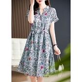 洋裝 大碼連身裙清新夏季配色 高精度印花 全棉系帶氣質顯瘦連身裙D303A快時尚
