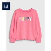 Gap女幼童柔軟妙趣圖案扇貝邊圓領長袖T恤518989-櫻紅色