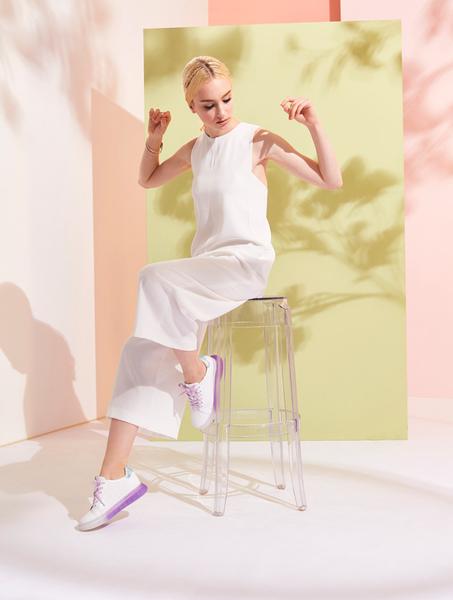 ★2019春夏★Keeley Ann我的日常生活 全真皮漸層大底沖孔休閒鞋(紫色)-Ann系列