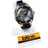 JAGA 捷卡 blink 大視窗 雙顯示 豪氣的魅力代表 多功能電子錶 休閒錶-黑金色手錶 AD127-AL