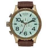 NIXON 51-30 CHRONO 潛龍諜影運動腕錶-復古金框x淺藍x咖啡色皮帶