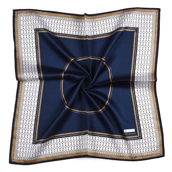 WEDGWOOD橢圓圖月桂葉紋印花純綿帕領巾(深藍色)989219-78