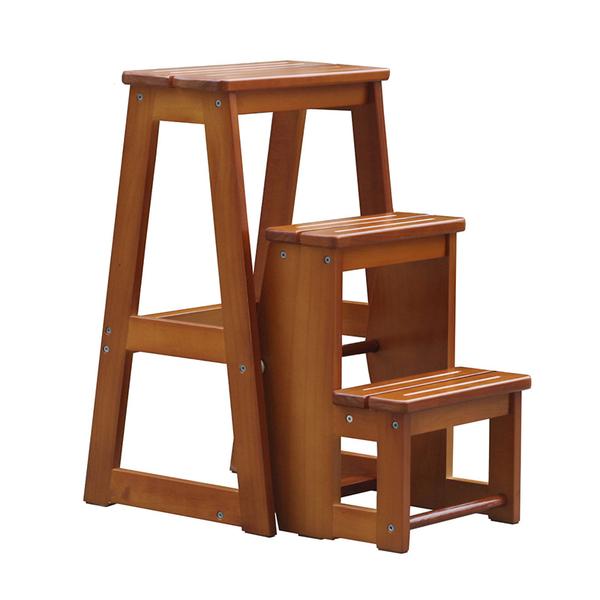 梯椅 三層樓梯凳全實木三步梯家用折疊梯子兩用梯椅可收縮T 4色 雙12提前購